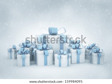 Christmas presents and snow  - stock photo