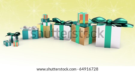 christmas presents in cyan, silver and gold, yellow and white background