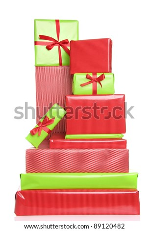 Christmas presents in red and green. Also available in horizontal. - stock photo