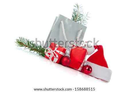 Christmas presents in Red and Silver on a white background - stock photo