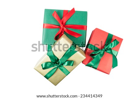 Christmas presents isolated - stock photo