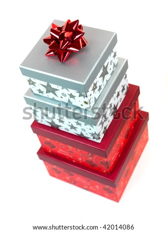 Christmas presents isolated against a white background