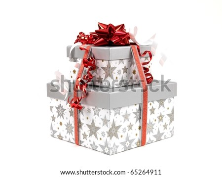 Christmas presents isolated against a white background - stock photo