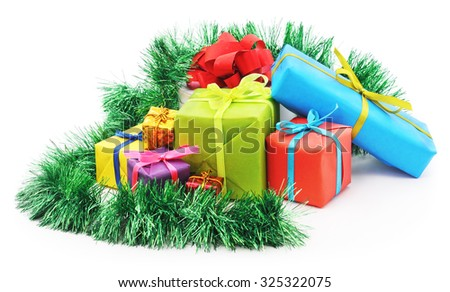Christmas presents isolated on a white background.