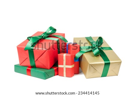 christmas presents on white background - stock photo