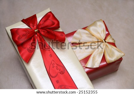 christmas presents over white background