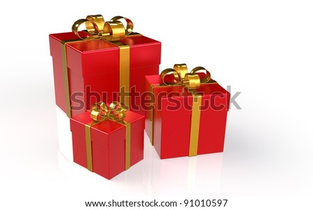 Christmas Presents. Set of 3 Christmas Presents.Red with Golden Ribbons - stock photo