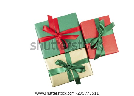 Christmas presents top view isolated - stock photo