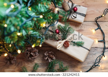 Christmas presents under a tree - stock photo