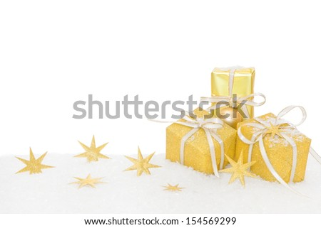 Christmas presents wrapped in gold paper - stock photo