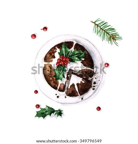 Christmas Pudding - Watercolor Food Collection - stock photo