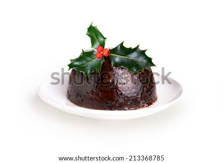 Christmas Pudding With a Sprig Of Holly Isolated On A White Background. - stock photo