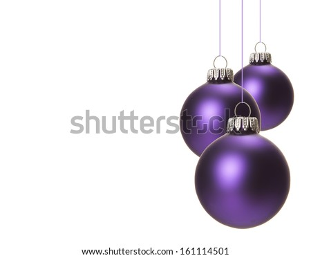 christmas, purple christmas balls isolated hanging with white background - stock photo