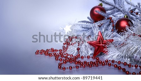 Christmas red and silver decoration with copy space