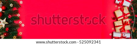 Christmas red background banner view with tree, gift and decoration