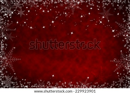 Christmas red background with snowflakes frame - stock photo