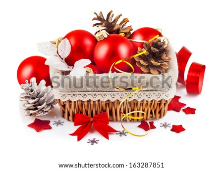 christmas red ball in basket isolated on white background - stock photo