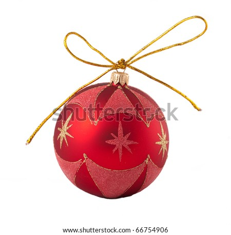 Christmas red ball isolated on a white background - stock photo
