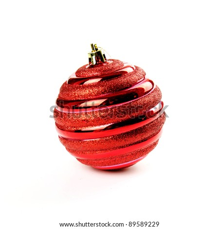 Christmas red ball isolated on the white - stock photo
