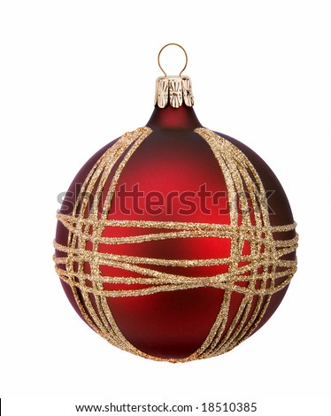 Christmas red ball, isolated on white background - stock photo