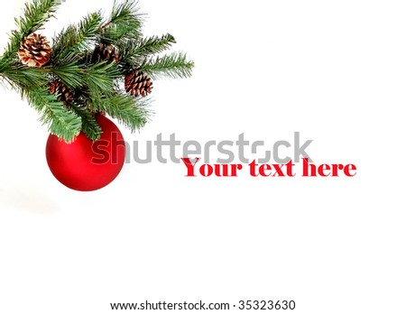 Christmas red ball on pine tree decoration with space for text, horizontal. - stock photo