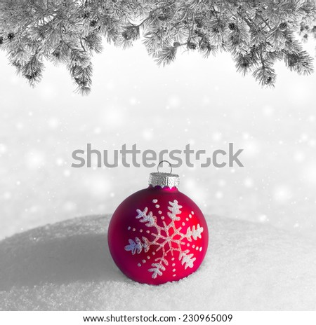Christmas red ball on snowdrift - stock photo