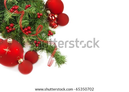 Christmas. Red ball with decoration - stock photo