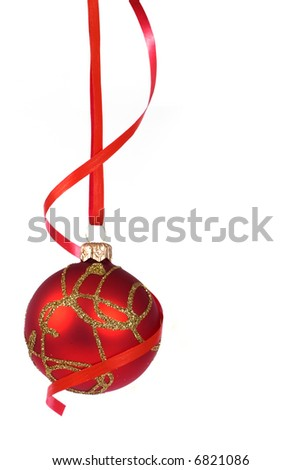 Christmas red  ball with ribbon - stock photo