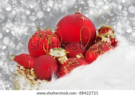Christmas Red ball with Santa Claus hat