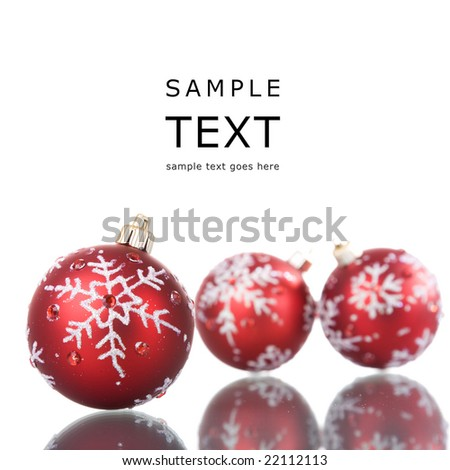 christmas red balls with reflection (selective focus) - stock photo