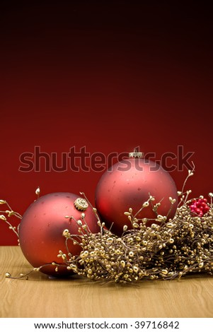 Christmas Red Bauble and decorations - stock photo