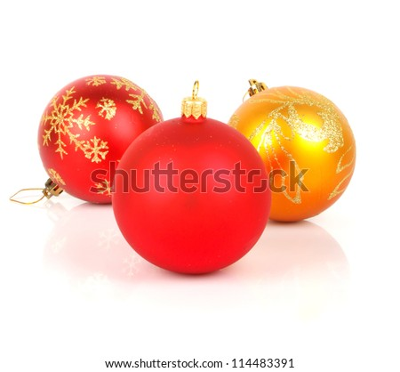 Christmas red baubles isolated on white background, New Year holiday photo