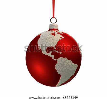 Christmas red bulb decorated with the shape of continents, Americas, 3d render - stock photo