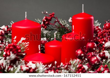 Christmas red candles - stock photo