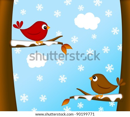 Christmas Red Cardinal Bird Pair Sitting on Tree Branches Winter Scene Illustration
