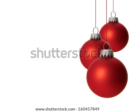 christmas, red christmas balls isolated hanging with white background  - stock photo