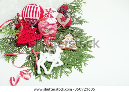 christmas red decoration isolated , white background for post card greetings, toy design on tree macro text - stock photo