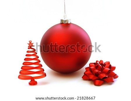 Christmas red decorations on white
