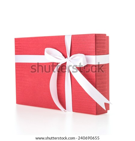 Christmas Red gift box isolated on white background