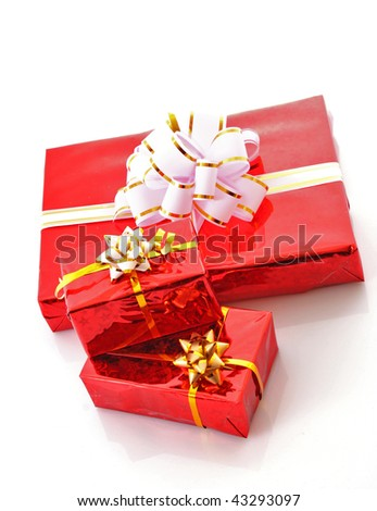 Christmas red gift box over white