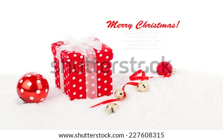 christmas red gift with branch firtree, isolated over white