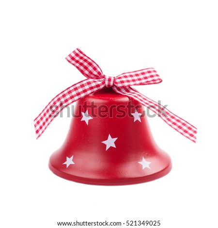 Christmas red Jingle bell isolated on white