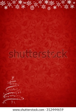 Christmas red pattern background with white tree and decorations.