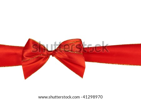 christmas red  ribbon,isolated on white