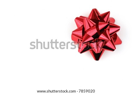 Christmas red ribbon isolated on white background