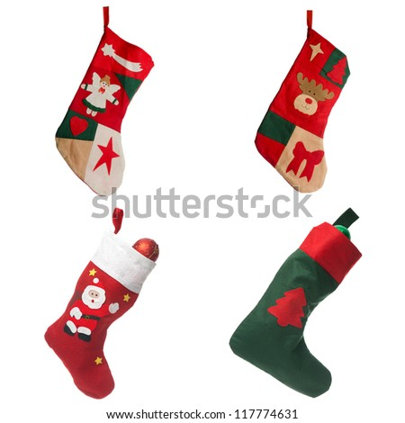 Christmas red stockings. Concept of christmas or holiday. - stock photo