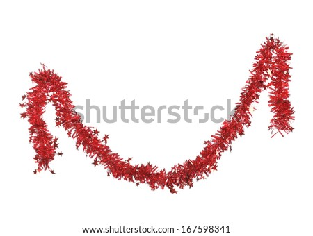 Christmas red tinsel with stars. Isolated on a white background. - stock photo