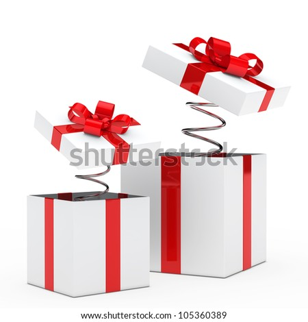 christmas red white gift box with ribbon