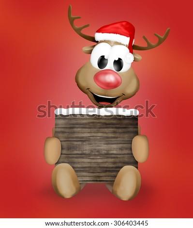 Christmas Reindeer holding sign - stock photo