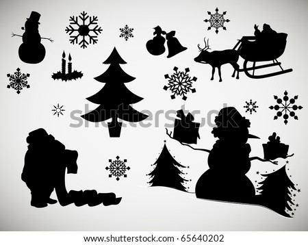 Christmas Related Silhouettes - stock photo